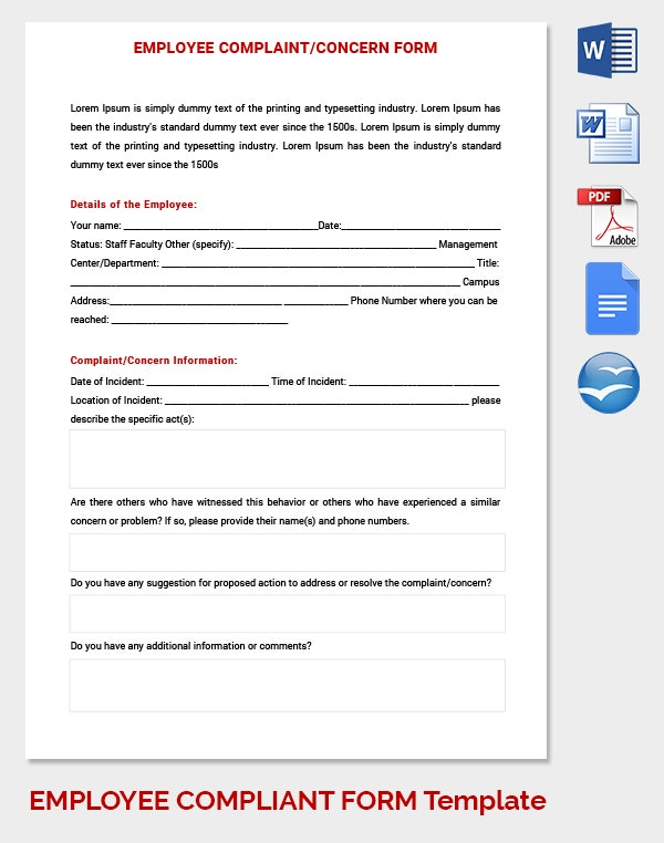 employee complaint and concern form template