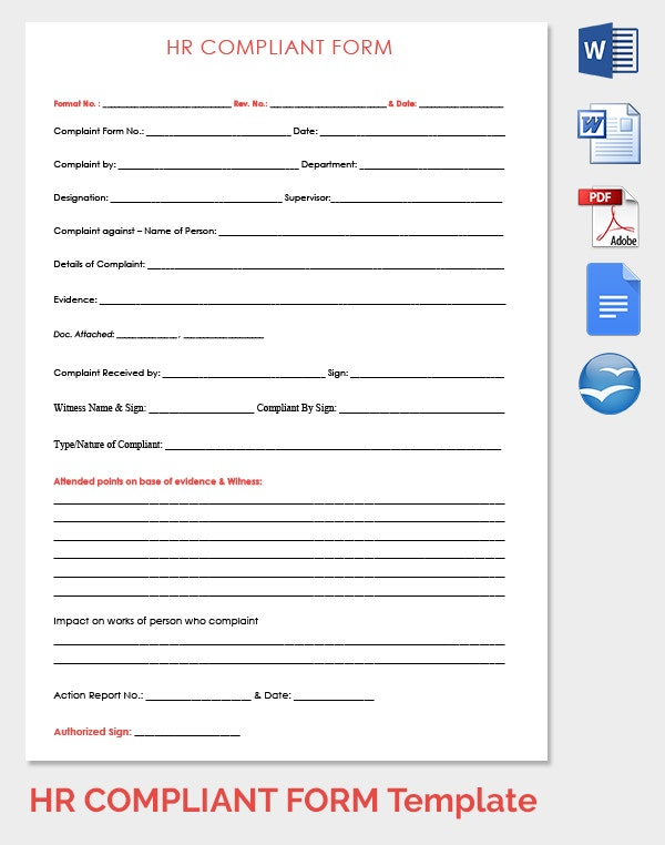 HR Complaint Form Template