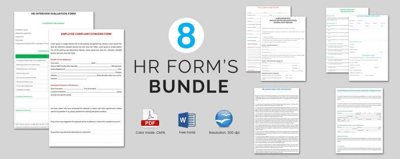 8 Best HR Form Templates Bundle