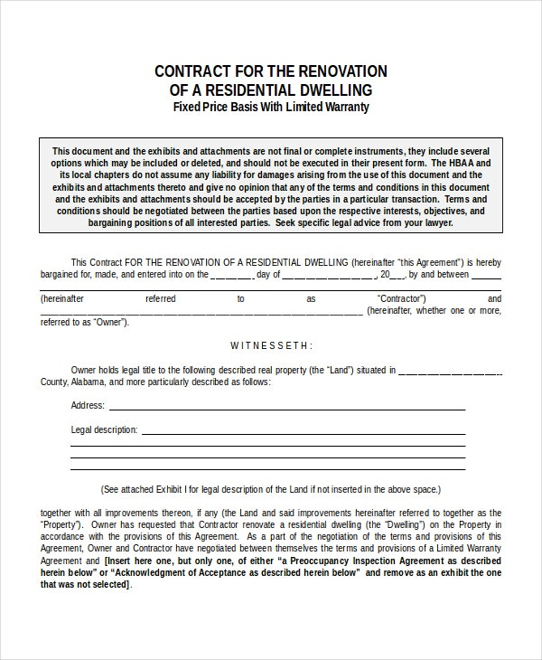 remodeling contract forms free home remodeling contract form with