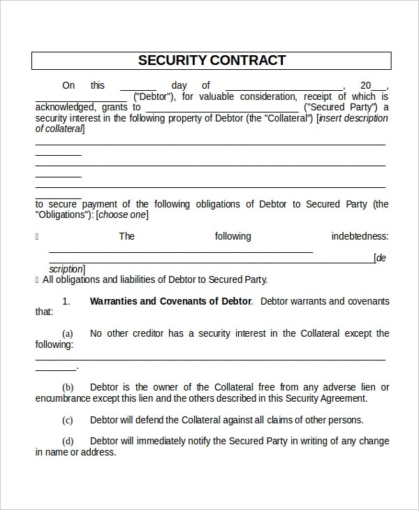 13 Contract Templates Free Sample Example Format – Security Agreement Template