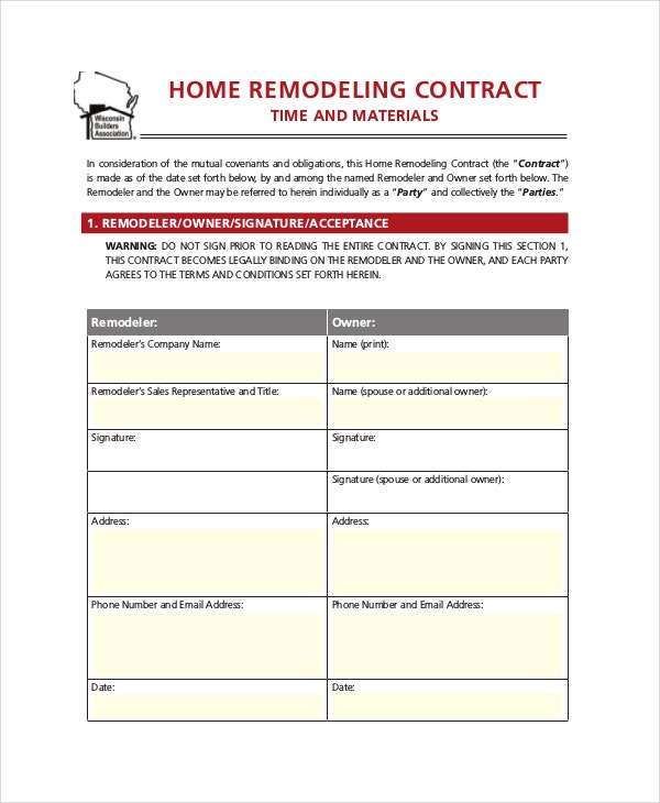 Ordinaire Home Remodeling Contract Template