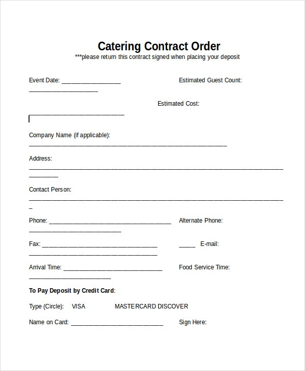 28 contract templates free sample example format for Catering contracts templates