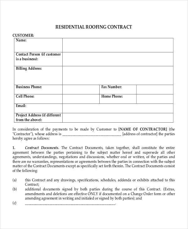 Nice Resedential Roofing Contract Template