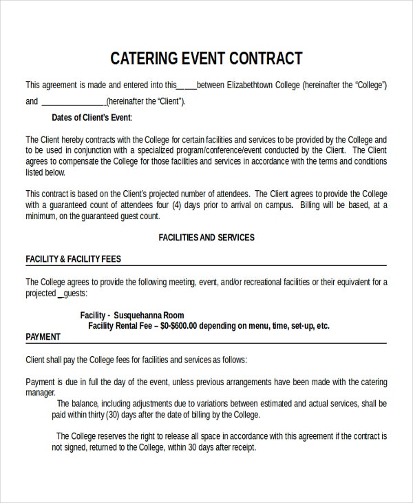 Catering Contract. Catering Contract Catering Contract - Big Cat'S