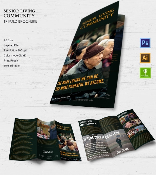 senior living community tri fold brochure