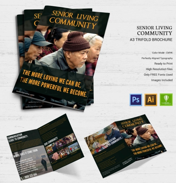 senior living community bi fold brochure