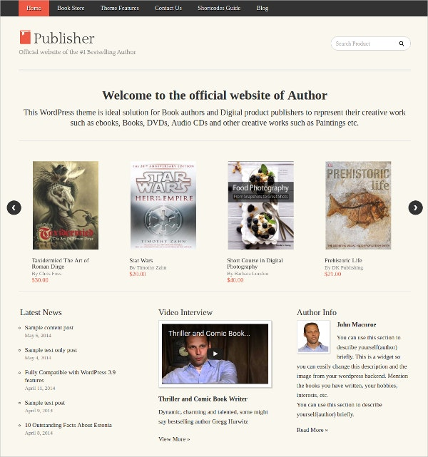 wordpress ebooks store theme