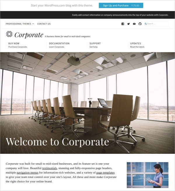 Small Business & Corporate WordPress Theme $175