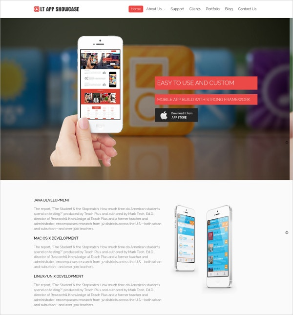 Modern Mobile App Showcase WordPress Theme $29