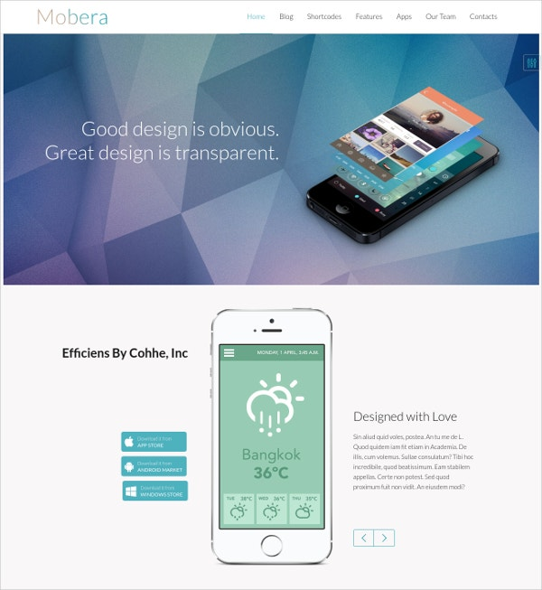 Premium App Showcase WordPress Theme $44