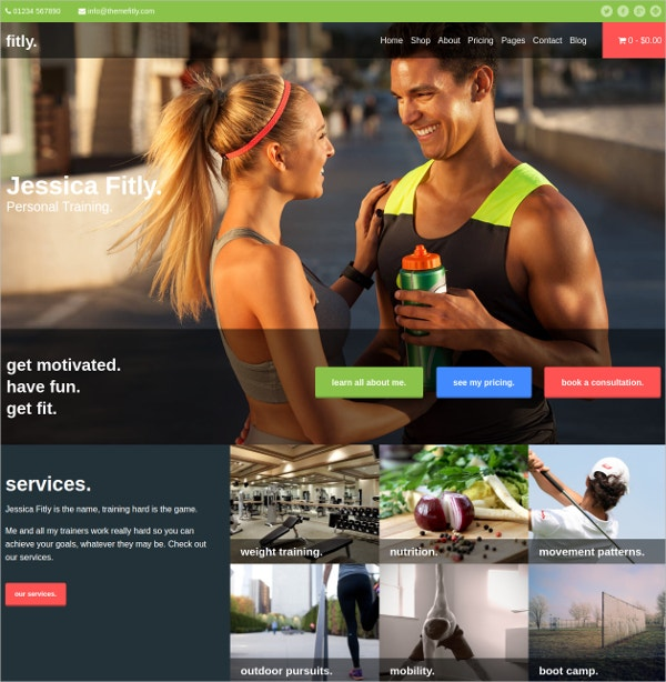Responsive Theme for Personal Trainers $59