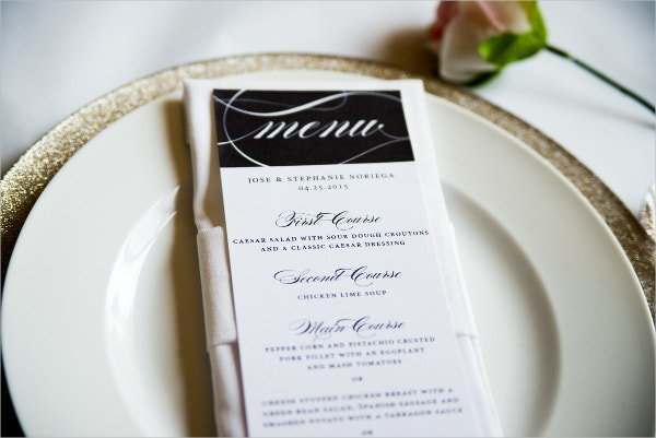 Elegant Script Wedding Menu Cards