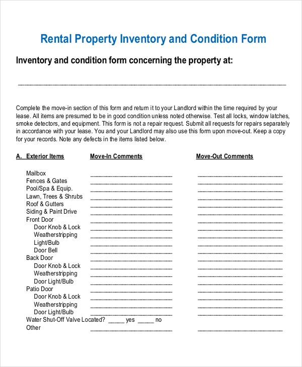 Rental Inventory Template Tenancy Inventory Check Sample Rental