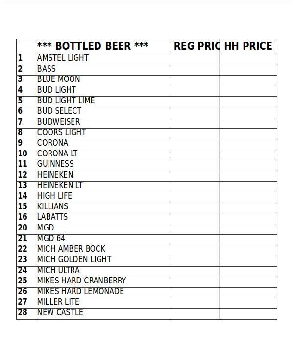 free inventory list template   datariouruguay
