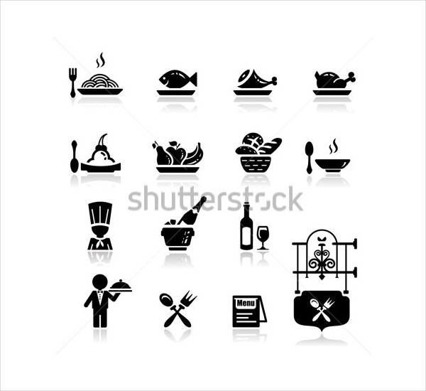 vector black restaurant icons