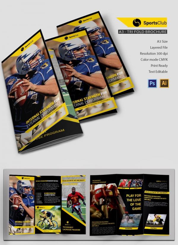 Sports Club Tri-fold Brochure
