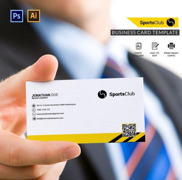 sports club business card