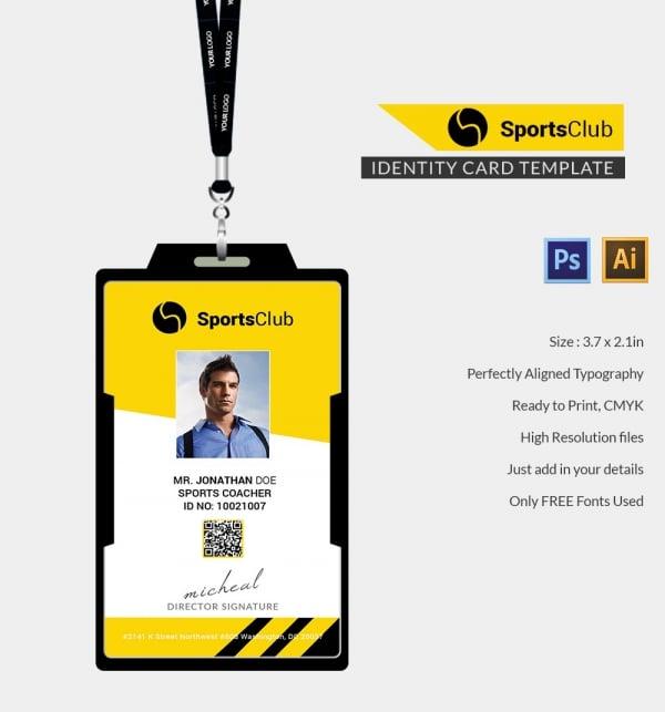 Sports club identity card