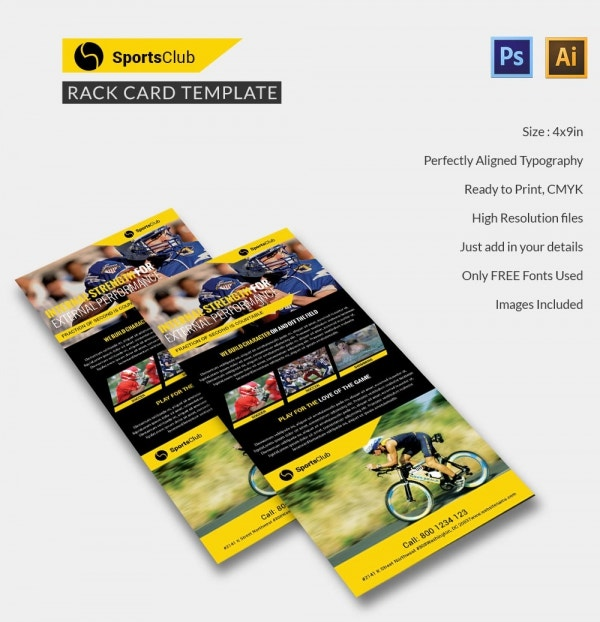 sports club rack card
