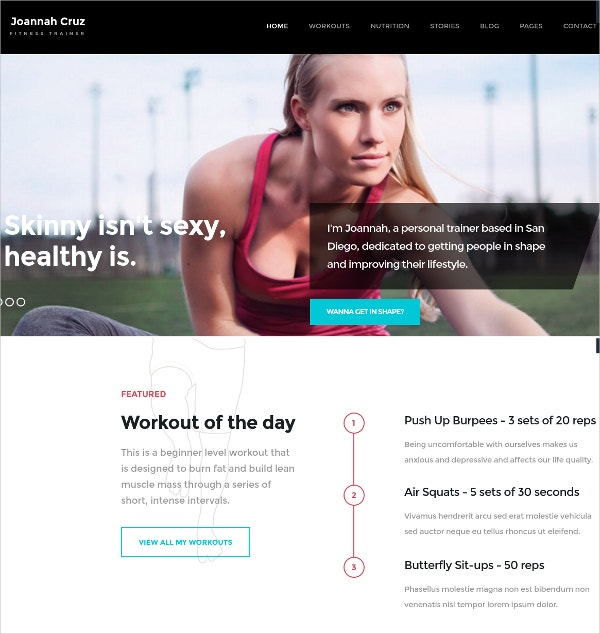 Responsive Fitness Trainer Website Theme