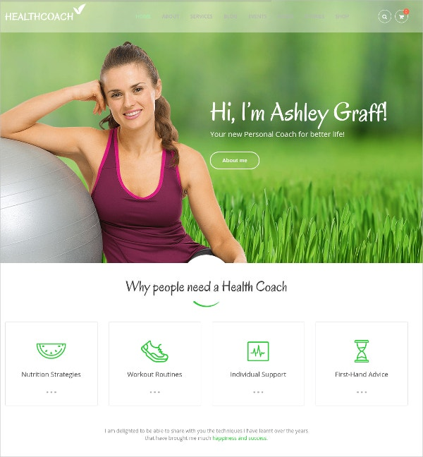 Health Coach WordPress Theme $59