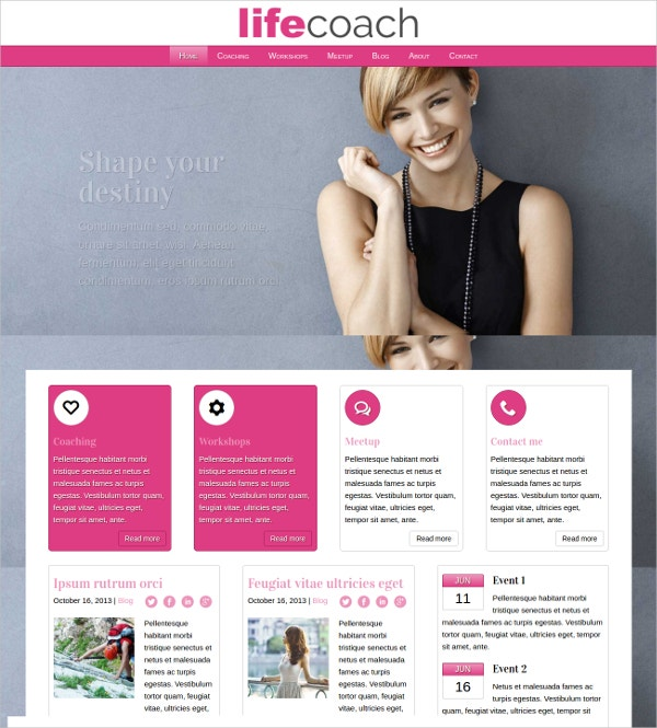Professional Life Coach WordPress Theme $75