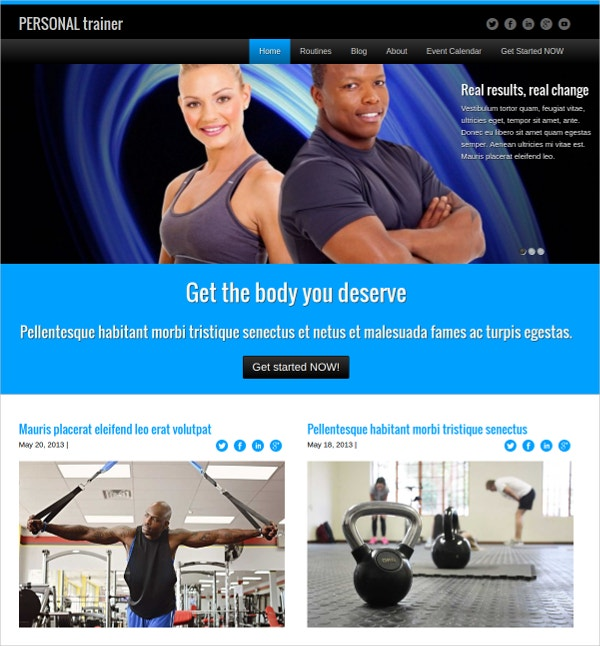 Powerful Personal Trainer WordPress Theme