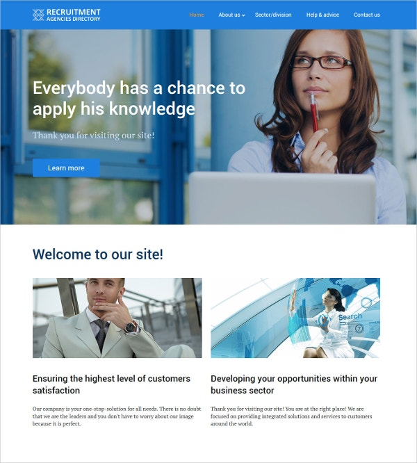 Business Directory Recruit Website Template $69