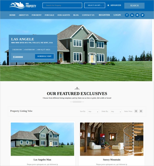 Real Estate Listing Website Template $59