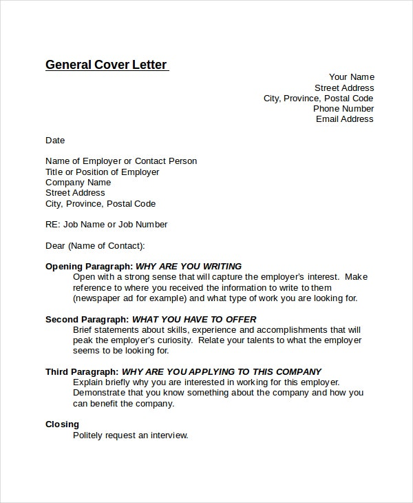 General Cover Letter Template  Cover Letter To A Company