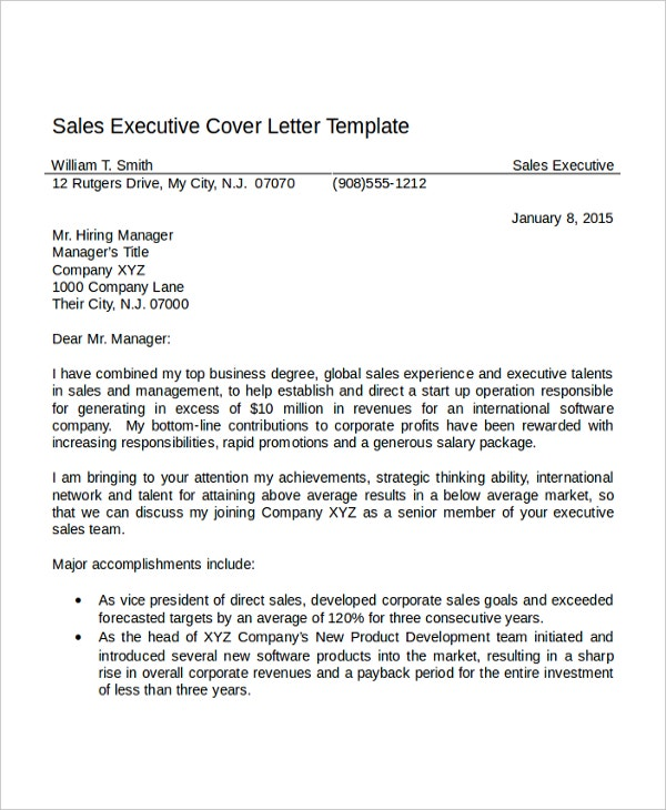 sales cover letter template. Resume Example. Resume CV Cover Letter