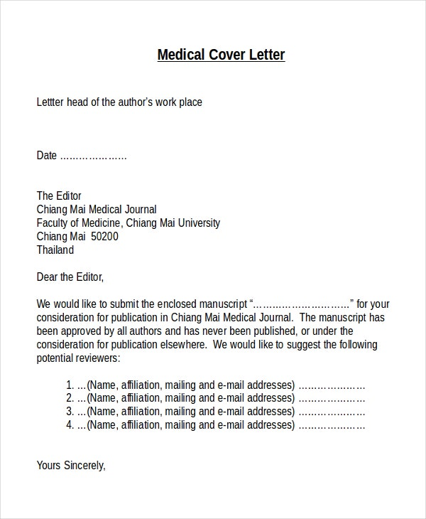 Medical Cover Letter Template