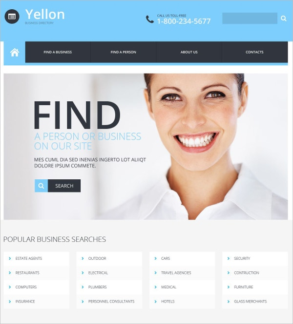 Business Directory Responsive Website Template $75