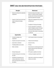 Project Risk Management SWOT Analysis