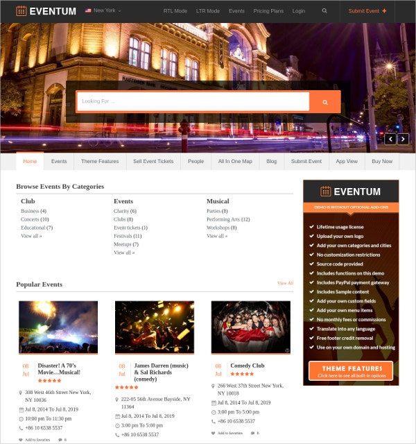 Business Events Directory WordPress Website Theme $45