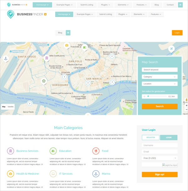 20 business directory website themes templates free premium wordpress business directory listing template 64 friedricerecipe Image collections