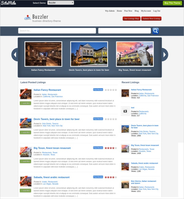 Responsive Business Listing Directory WebsiteTheme