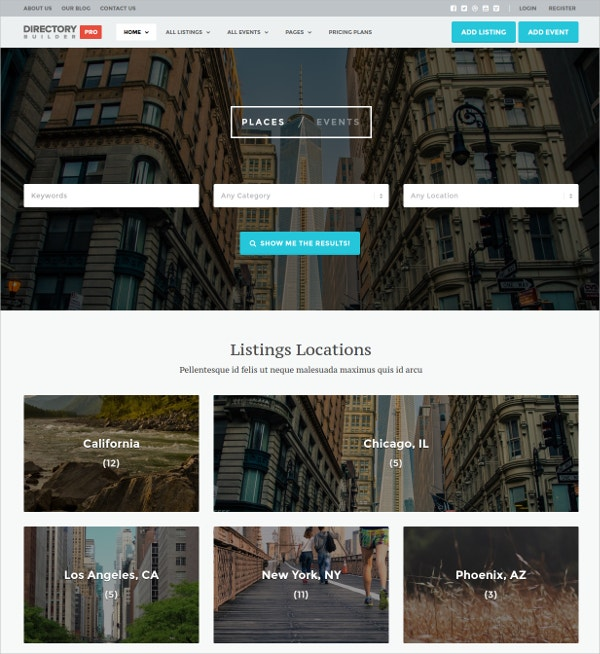Business Listing & Events Directory Website Theme $96