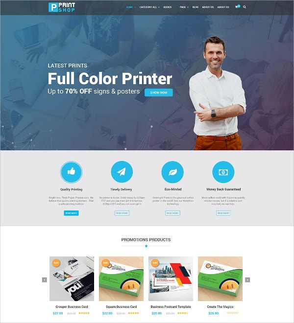 Printing Press WordPress Theme $59