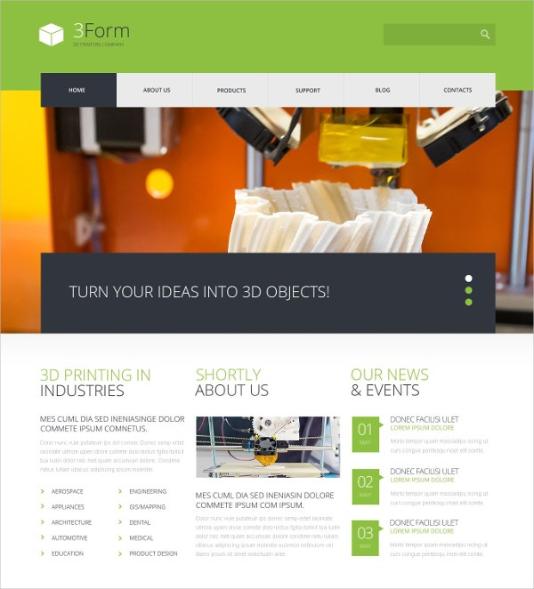 3D Printing Technologies WordPress Theme $75