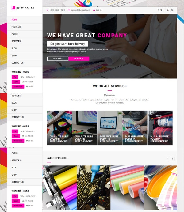 Printing Services WordPress Theme $59