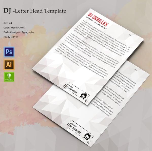 dj letterhead template