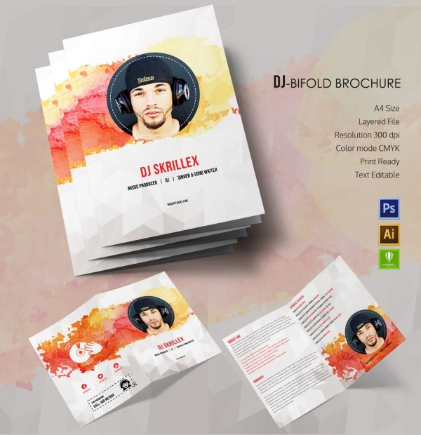 dj bi fold brochure template