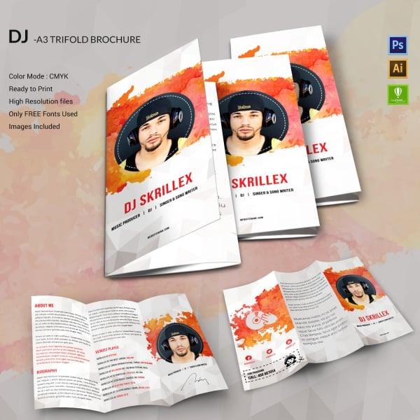 dj tri fold brochure design
