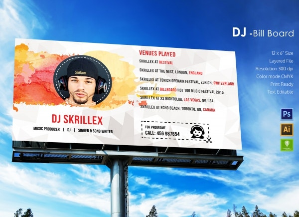 DJ Bill Board Template