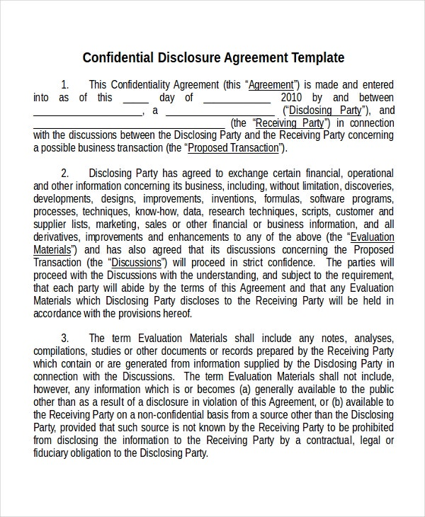 12 non disclosure agreement templates free sample for Cda agreement template