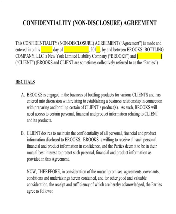 Confidentiality Non Disclosure Agreement Template  Free Printable Non Disclosure Agreement