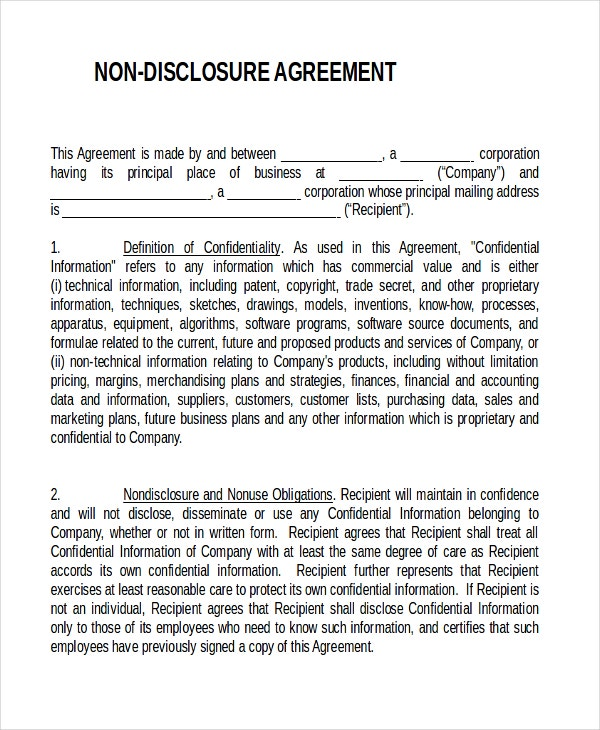 Non Disclosure Agreement Templates  Free Sample Example
