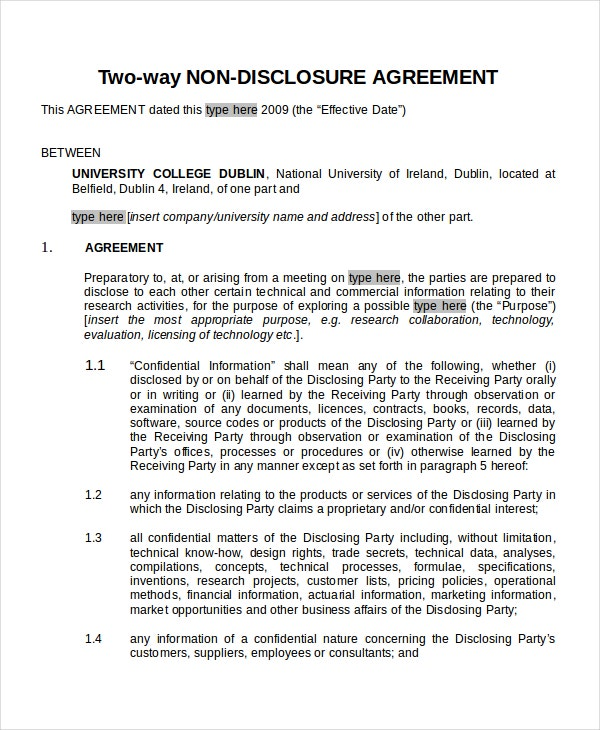 23 Non Disclosure Agreement Templates Free Sample